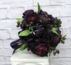 Royal wedding bouquet Purple plum by BrideinBloomWeddings on Etsy