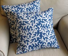 BLUE Coral pillow coverS PAIR. $60.00, via Etsy.