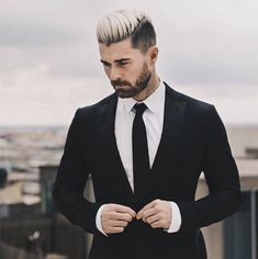 Hair color silver fox look with black sides