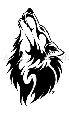 Best Black Tribal Wolf Tattoo Design
