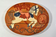 5 Cent Carousel Horse Ride sign/Carousel Amusement Park Wood Sign/circus horse/shabby chic/nursery decor/carousel horse ride/retro sign by decor4home2 on Etsy