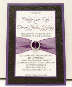 Custom Purple / Eggplant Black   Silver Wedding by InviteBling, $2.55