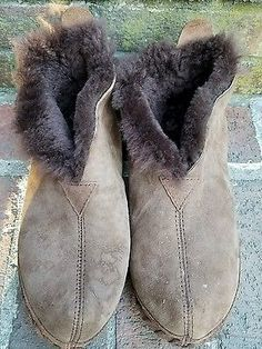 LL BEAN WICKED GOOD BOOTIE SLIPPERS SHEARLING SUEDE Brown Mens 9 M