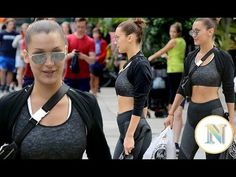 Bella Hadid showcases toned tummy as she shops in sports bra and leggings-Bella Hadid showcases toned tummy as she shops in sports bra and leggings