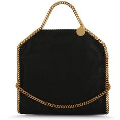 Stella McCartney Falabella Shaggy Deer Fold Over Tote (£680) ❤ liked on Polyvore featuring bags, handbags, tote bags, black, handbags totes, shoulder strap handbags, fold over tote, foldover tote and foldable tote