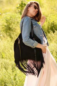 """""""Boho Star Tote"""" Fringe Suede Leather Tote by morelebags"""