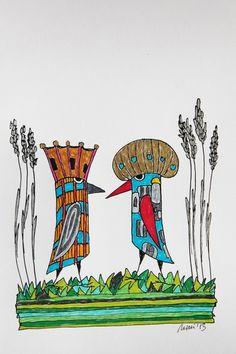 """*Für die Aktion KunstRaub mit dem Titel TurmKunst, inspiriert von dem """"HunderwasserTurm in Abendberg*  +Diese """"königlichen Vögel"""" haben sich anlä..."""