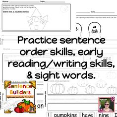 Sentence Builders are a NO PREP way for your beginning readers and writers to practice: beginning reading & writing skills, sight words, sentence sequencing, and fine motors skills (cutting, coloring, and gluing.)  Do your early readers and writers struggle to make their own sentences? Mine do! Especially, in the first part of the year! I made these sentence builders using Kindergarten and 1st grade sight words, plus common fall words.