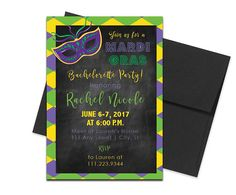 Printed Mardi Gras Themed Bachelorette Invites with Envelopes. Click through to find matching games, favors, thank you cards, inserts, decor, and more. Or shop our 1000+ designs for all of life's journeys. Weddings, birthdays, new babies, anniversaries, and more. Only at Aesthetic Journeys