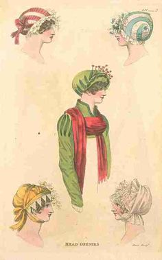 Fashions of London and Paris, November 1810.  Oh, these are so swoon-worthy! Look at the one on the top right with the blue swirl! I needs it, precious!