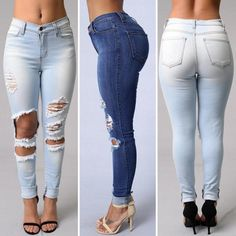 Ripped Hole Denim Skinny Jeans