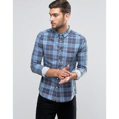 ASOS Skinny Denim Shirt With Plaid Check With Long Sleeve In Mid Wash ($25) ❤ liked on Polyvore featuring men's fashion, men's clothing, men's shirts, men's casual shirts, blue, mens tall shirts, mens blue plaid shirt, mens long sleeve shirts, mens checkered shirts and mens checked shirts