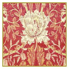Free Shipping Morris's Honeysuckle in Redtones Counted Cross Stitch Chart -  William Morris design in the Arts and Crafts Style. $7.99, via Etsy.