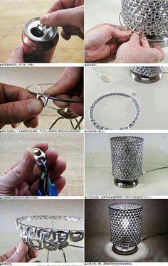 DIY creative lamp using can pull tabs