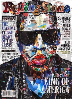"Jay-Z's 2010 ""King of America"" Rolling Stone cover, done in collage.  Artist Andy Gellenberg writes: ""My purpose on this A1 sized collage work was to recreate a magazine cover out of its own content. The biggest challenge was to retain the main contents of the issue. I almost used the whole range of around 90 pages"""