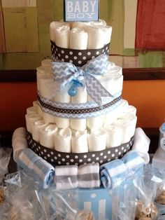 Fantastic diaper cake at a boy baby shower!  See more party ideas at CatchMyParty.com!