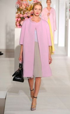 A dusty pink coat and a camel shift dress are appropriate for both smart casual events and day-to-day wear. This outfit is complemented perfectly with metallic leather pumps.