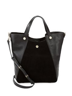 d83562dda214 Halston Heritage Leather  amp  Suede Tote Bag Crossbody tote bag in pebbled  leather and suede