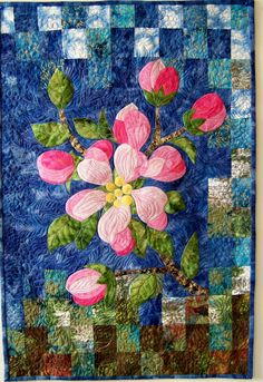 Apple Blossom- art quilt, raw edge applique