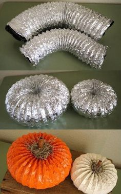 DIY Fall season pumpkins. Duct piping, spray paint and something for the stem.