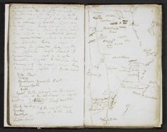 Samuel Taylor Coleridge, Lakes Notebook    A map from one of Coleridge's notebooks kept between July and September 1802, recording his solitary exploration of the mountainous landscape of the Lake District.