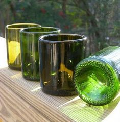 This site says you just need a bottle cutter to make wine glasses out of old bottles (and other cool things from wine bottles).