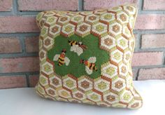 Vintage Bees Honeycomb Throw Pillow . It measures approx. 12 x 12 . It is in great used condition with some signs of age here and there, no