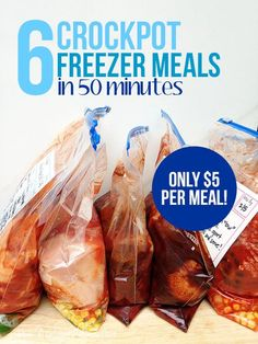 New Leaf Wellness shows you how to make 6 Cheap Crockpot Freezer Meals in 50 Minutes.