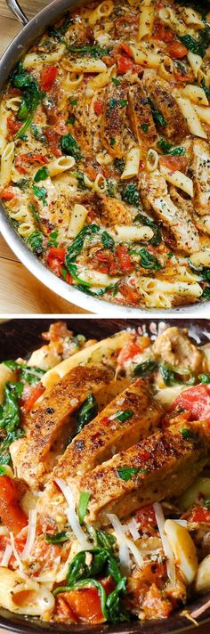 Chicken Penne with Bacon and Spinach in Creamy Tomato Sauce #pasta #ChickenRecipes