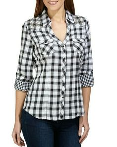 Swans Style is the top online fashion store for women. Shop sexy club dresses, jeans, shoes, bodysuits, skirts and more. Blouse Styles, Blouse Designs, Western Tops, Fashion Over 40, Corsage, Shirt Blouses, Tartan, Casual Shirts, Flannels