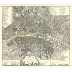 giant Vintage historic old world A city plan Street map of Paris France circa 1800 Restoration Hardware style Fine Art Print Giclee Poster Antique World Map, Old World Maps, Old Maps, Vintage World Maps, Paris France, Paris Map, Paris City, Giant Vintage, Vintage Paris