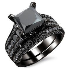 Noori 14k Gold 3.8ct TDW Certified Black Diamond Princess Cut Bridal Set - Overstock Shopping - Top Rated Noori Collection Bridal Sets