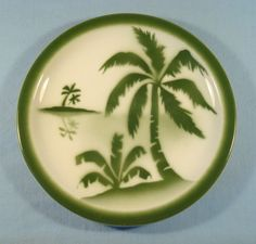 """Vintage SYRACUSE CHINA 9 3/8"""" Green PALM TREES PLATE Restaurant Ware"""