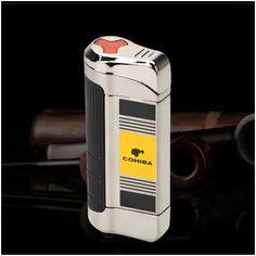 Bật lửa hút Cigar Cohiba chính hãng 3 tia lửa cực mạnh có thiết bị đục xì gà - Mã SP: BLH085