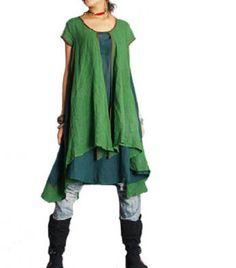Vestidos por la rodilla - Sueltas Estilo capas dobles Vestido verde - hecho a mano por buuki en DaWanda
