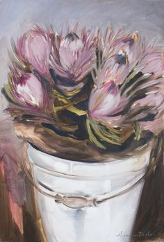 Ice proteas in a bucket. Oil on canvas. Melissa Austin Von Brughan. Archival prints available. vonbrughan@gmail.com