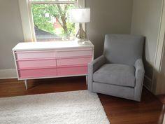DIY ombre dresser for baby girl nursery, room and board shay swivel glider, rugs USA shag rug