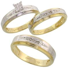 10k Yellow Gold Diamond Trio Engagement Wedding Ring Set for Him and Her 3-piece 6 mm & 5 mm wide 0.11 cttw Brilliant Cut, ladies sizes 5 - 10, mens sizes 8 - 14