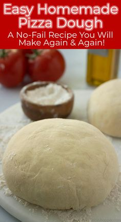 This Homemade Pizza Dough Recipe is so easy, and I consider it to be no-fail! It results in a traditional crust that is both chewy and crisp. Recipes pizza Homemade Pizza Dough is so EASY! Good Pizza, Pizza Pizza, Dough Pizza, Easy Pizza Dough Recipe, Pizza Dough With Yeast, Puzza Dough Recipe, Pizza Rolls, Pizza Dough No Rise, Gourmet