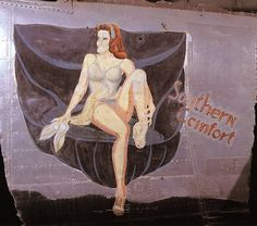 """""""Southern Comfort"""" from the Confederate Air Force Collection.  This collection of nose art panels came to the CAF from Minot Pratt, the general manager of the company that was scrapping planes at the boneyard at Walnut Ridge, Arkansas.  He had ordered his men to cut out and save the most interesting nose art, which he was supposedly going to put up as a fence around his property.  This never happened and he donated the pieces to the CAF in the 1960's."""