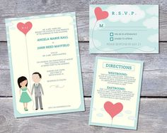 Wedding Invitation Suite Custom Cartoon printable design - Love's Afloat design (full length) on Etsy, 49,08 €