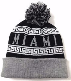MIAMI POM BEANIE Black&White Winter Knit Ski Hat Men/Women MU-Ohio-Redhawks/Heat #KBTradingCo #Beanie