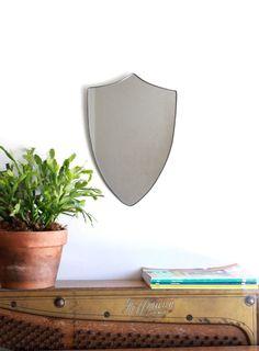 Shield Mirror Crest Mirror Handmade Mirror Wall by fluxglass