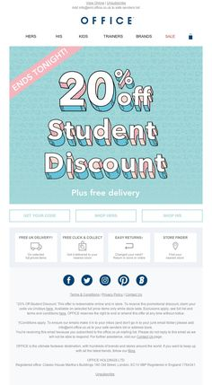 Patroneer tracks all the retail deals and lets you quickly find what you're shopping for. Email Template Design, Email Templates, Mail Marketing, Student Discounts, Brand Sale, 20 Off, Sale Poster, Students, Banner