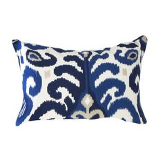 Fresh Modern Colourful Eclectic — This cool, blues, white and tan patterned Ikat pillow cover is sure to help create a visually calming but