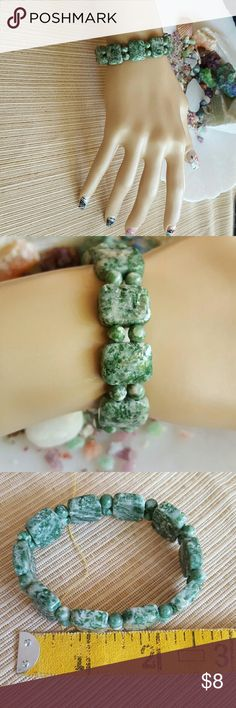 """Tree Agate Stone Bracelet Earth Art hand crafted artisan bracelet in genuine stone! Stretch fit but recommended for small to large. About 2.75"""" unstretched diameter.  Gorgeous natural stone! Earth Art hand crafted artisan  Jewelry Bracelets"""