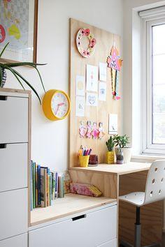 DIY plywood kid's desk area and IKEA hack: Ez's bedroom | Growing Spaces | Bloglovin'