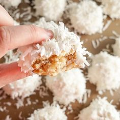 I absolutely love pineapple and coconut flavors, so these cookies have always been a favorite! Plus, they are so festive and fun looking, that they just feel like the ultimate Christmas cookie! Cranberry Cookies, No Bake Snowball Cookies Recipe, Anniversary Cookies, Wedding Anniversary, Candy Recipes, Cookie Recipes, Christmas Cookies, Snow Balls, Coconut