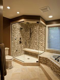 Love that the shower is close to the tub and the seat in the showe