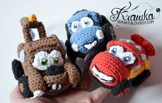 3 Cars crochet pattern in 1 - Lightning McQueen, Sally Carrera and Mater tow truck from The Cars Disney movie